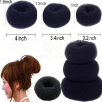 Cabelo Bun Ring Donut Shaper Hair Styler Hair Styling Ferramenta Donut Magia Esponja Bun Anel Criador Ex Twister Preto