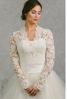 Uzun Kollu Düğün Wrap / Ceket Beyaz Fildişi Dantel Gelin Wrap Custom Made Düğün Bolero Düğün Aksesuarları Gelin Ceketler