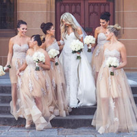 2018 Champagne Long Floor Tulle Country Wedding Bridesmaid D...