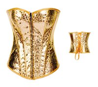 Sexy Fashion women Gold corselet Halterneck Rivet Shaper Cor...