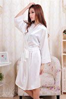 2017 Dames Femmes Solide Plaine De Rayon De Satin Robe Pyjama Lingerie Vêtements De Nuit Kimono Robe pjs # 3726