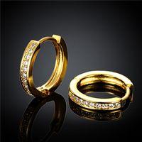 Nieuw ontwerp 18K vergulde Swiss CZ Diamond Hoop Oorbellen Bruiloft / Engagement Sieraden voor Vrouwen Gratis verzending