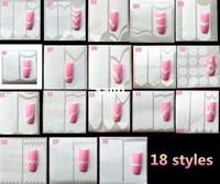18 Stili Decorazione unghie Consigli di arte del chiodo Autoadesivo del chiodo Forme di forma d'arte Fringe Guide Sticker DIY French Manicure