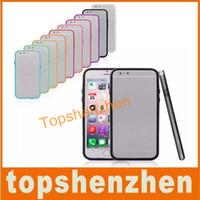 Tpu bumper quadro de metal botão case capa para iphone 6 6g 4.7inch 10 doces cores suave silicone case capa com pacote de varejo freeshipping