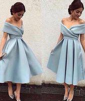Mütevazı Kısa Parti Elbiseler Kapalı Omuz Çay Uzunluğu Saten Backless 2019 Arapça Dubai Ucuz Abiye Balo Kokteyl Abiye Custom Made