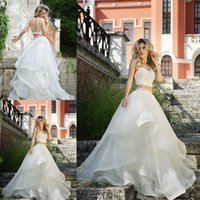 2015 Modest Two Piece Wedding Gowns Crop Top Sext Spagetti S...