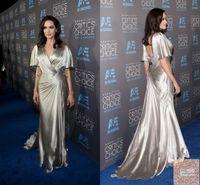 Chegada nova sexy angeline jolie celebridade vestido vermelho tapete sem encosto chiffon chiffon vestido longo vestido formal vestidos de noite plus size