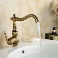 Antique Brass Single Handle Bathroom Faucet Lavatory Vessel ...