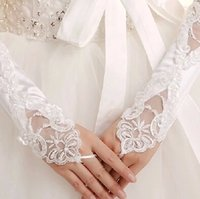 Cheap Real Image Bridal Gloves Fingerless Short Lace Appliqu...