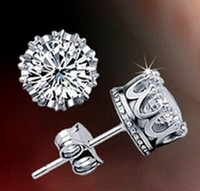 Fashion 925 Sterling Silver Crystal Crown earrings CZ Stud E...