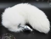 Bouchon anal d'acier inoxydable avec la queue blanche de queue de renard 35cm longue prise anale des jouets sexuels pour des produits adultes