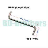 T20 / T25 + 5.0 mm Phillips PH1 # schroevendraaier met gat Z-schroevendraaiers Tool voor automatische spatbord van auto 400pcs / lot