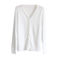 Suéter das mulheres Atacado - Mulheres de malha camisola em v manga comprida cashmere Cardigan