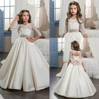 Stunning Half Sleeve Bow Lace Girls Pageant Dress Satin Bead...