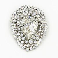 Vintage Şık Büyük Waterdrop Kristal Lüks Broş Narin Düğün Broach Pin Köpüklü Diamante Takı Buket Pin Ucuz Toptan