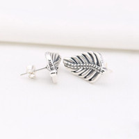 2016 NEWEST 925 sterling silver feather stud earrings with clear CZ fitS for pandora charms jewelry DIY 1pair /lot wholesale