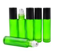 Vert 10 ml 1/3 oz ÉPAISSEUR ROUGE SUR LA BOUTEILLE DE VERRE Parfums HUILE ESSENTIELLE Bouteille de parfum en acier inoxydable Rouleau Ball Par DHL / EMS Livraison Gratuite