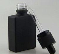 30 ml son çıkan Siyah dikdörtgen buzlu cam damlalıklı şişeler, dikdörtgen kare şişeler mat siyah temizle altın çocuklardan uzak sabotaj belirgin