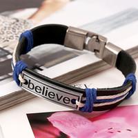 Croire Bracelet Charm Tag En cuir Inspirational Bracelets Bracelet Banglasse Femmes Mens de bracelet Mode Bijoux de mode et Sandy
