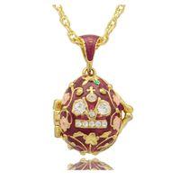 زهرة فابيرج البيض يدويا بألوان المينا واضحة قلادة حجر الراين الروسية البيض قلادة قلادة لعيد الفصح