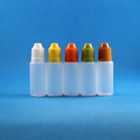 100 Set 15ml (1/2 oz) Bottiglie con contagocce in plastica Berretti con testina per BAMBINI Punte PE LDPE E Per Vapor Cig Liquid 15 ml