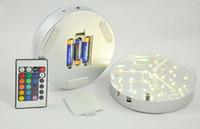 Nueva marca de 6 pulgadas ronda led uplights para centros de decoración de la boda con control remoto multi colores RGB llevó lámparas de fiesta de base de florero