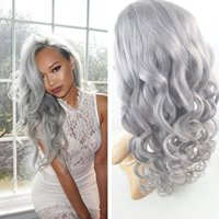 glueless full lace wig remy hair Brazilian body grey human h...
