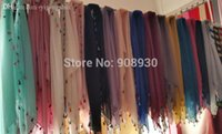 Wholesale- Fashion plain hijabs colorful fringes tassels four...