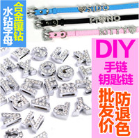Hole Length 8MM 130Pcs/Lot Charms DIY Slide Letters With Rhinestone Pet Dog Collars Silver Color Jewelry Finding Components Charms