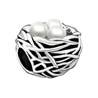 Bracelet mode femme bijoux cadeau Saint Valentin blanc nid d'oiseau nacre entretoise européenne perles grand breloques pour bracelets perlés