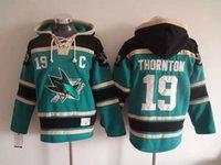 Calidad superior! 100% Stitched San Jose Sharks Old Time Hockey Jerseys 19 Joe Thornton Hockey Hoodie Pullover Sudaderas Chaqueta de invierno