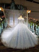 2018 Winter Herbst Schnee Garten V-Ausschnitt Ballkleid aus der Schulter Brautkleider westlichen Hände gemacht Blumen Braut Hochzeit Kleider