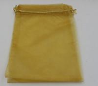 Caldo ! Oro 7x9cm 9X11cm 13X18cm 20x30cm Sacchetti regalo sacchetti di organza gioielli per bomboniere, perline, gioielli (ab652)