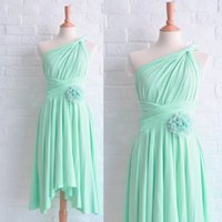 2015 Mint Bridesmaid Dresses Asymmetrical Neckline Pleats Ha...