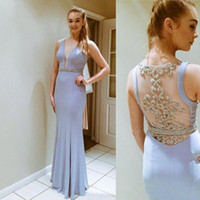 Sexy plunging v neck prom dresses with sash beaded illusion ...