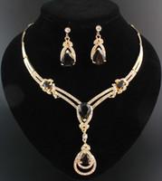 مجموعة الذهب والمجوهرات الساخنة العقيق توباز الأصفر مطلي قلادة الأزياء الزركون الزفاف كريستال الزفاف قلادة أقراط الزفاف