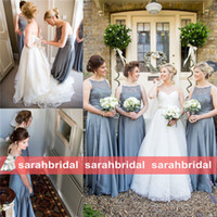 2016 New Dusty Blue Lace Top Bridesmaid Dresses Long Maxi A-...