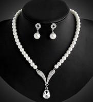 Set di gioielli di perle di corano Set di accessori di nozze da sposa Orecchini e collana Gioielli di moda da donna Set di gioielli da sposa in cristallo