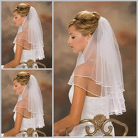 Hot Sale White Bridal Veils With 2 Layers Edge Tulle Short W...