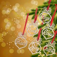 Navidad de madera colgante ornamento artesanal decoración paz fe esperanza amor Noel alegría para el árbol de navidad 6 unids / lote