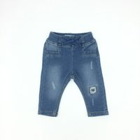 Baby Girl Jeans Skinny Knitting Denim Worn Cotton Solid Soft...
