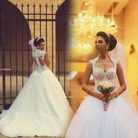 2015 العربية السعودية الشتاء الكرة بثوب فساتين الزفاف مثير عارية الذراعين الحبيب يزين مطرز صد شير اورجانزا الواجهة أثواب الزفاف BO7186