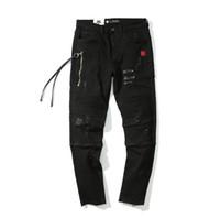 Jeans da uomo strappati strappati slim fit Jeans neri Biker Punk Rock Abbigliamento Fori Pantaloni a matita Abbigliamento uomo