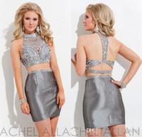 Gümüş Yüksek Boyun İki Adet Mini Seksi Mezuniyet Elbiseleri Büyüleyici Ucuz Kısa Tül Balo Elbise Parti Abiye 2015 Hızlı Teslimat