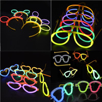 NEON LUMINOSO GLOW STICKS OVAL CORPO DO CRÂNIO EYEGLASSES OLHOS VIDROS HEADBAND Birthday Party Supplies Decoração de Natal Hollowen