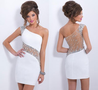 Jedno ramię tanie białe sukienki do domu Sexy See przez plecy z koralikami Crystal Cekiny Mini krótka suknia koktajlowa