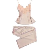 Atacado-duas peças mulheres nightwear sleep lounge para o sexo feminino sexy tops sem mangas + calças compridas conjuntos de pijama de renda de cetim sleepwear meninas