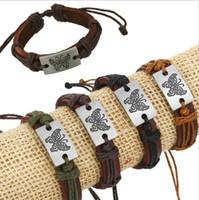 Mix Sale Bracciali LIink 4 Colori Moda Farfalla Modello Charms Bracciali Infinity in pelle per le donne Gioielli fai da te