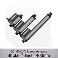 Бесплатная Доставка! Привод DC 12V/24V 16inch/400mm электрический линейный, 1000n/100kgs нагружает приводы скорости 10mm / s линейные без кронштейнов