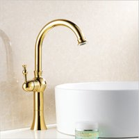 Golden Plated Faucets Kitchen sink swivel Bathroom Brass Fau...